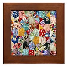 Colorful Patchwork Quilt Framed Tile