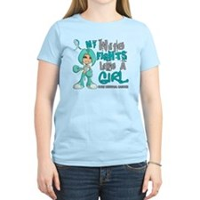 Wife Fights Like Girl Cervic T-Shirt