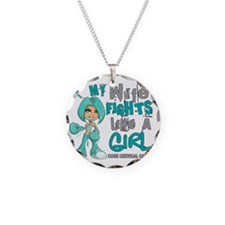 Wife Fights Like Girl Cervic Necklace Circle Charm