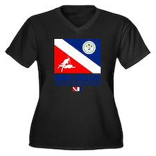 Dive Belize Women's Plus Size Dark V-Neck T-Shirt