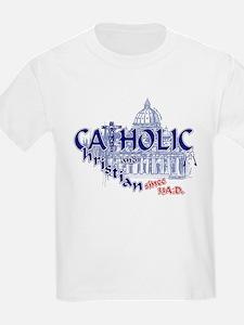 Catholic and Christian (Blue) Kids T-Shirt