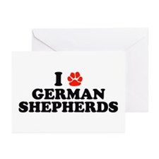 I Heart (Pawprint) German Shepherds Greeting Cards