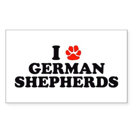 I Heart (Pawprint) German Shepherds Sticker (Recta