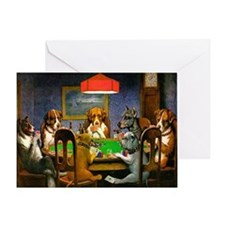 Card Playing Dogs Greeting Card