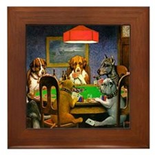 Card Playing Dogs Framed Tile
