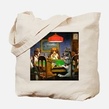 Card Playing Dogs Tote Bag
