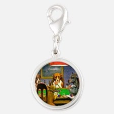 Card Playing Dogs Silver Round Charm