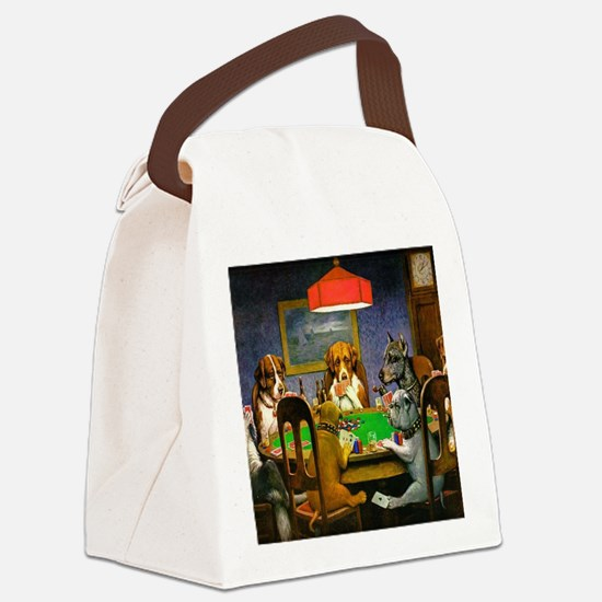 Card Playing Dogs Canvas Lunch Bag