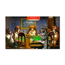 Card Playing Dogs Rectangle Car Magnet