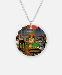 Card Playing Dogs Necklace