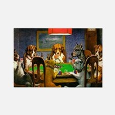 Card Playing Dogs Rectangle Magnet