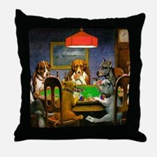 Card Playing Dogs Throw Pillow
