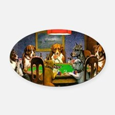 Card Playing Dogs Oval Car Magnet