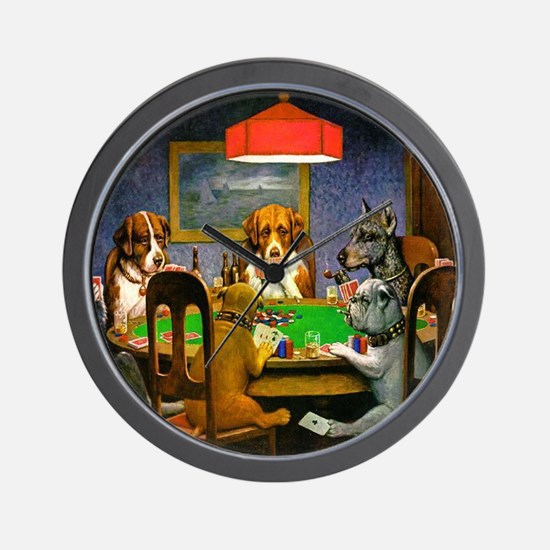 Card Playing Dogs Wall Clock