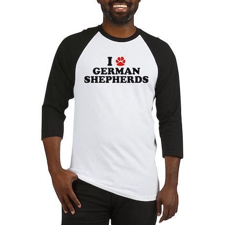 I Heart (Pawprint) German Shepherds Baseball Jerse