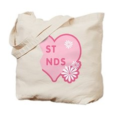 Pink Best Friends Heart Right Tote Bag
