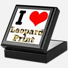 I Heart (Love) Leopard Print Keepsake Box