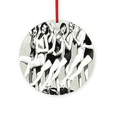 Vintage Women Beach Postcard Round Ornament
