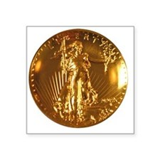 "Ultra High Relief Gold Coin Square Sticker 3"" x 3"""