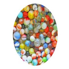 Colorful Marbles Oval Ornament