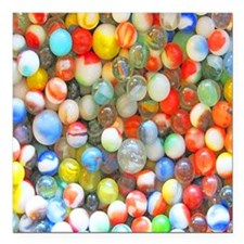 "Colorful Marbles Square Car Magnet 3"" x 3"""