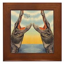 Vintage Alligator Postcard Framed Tile
