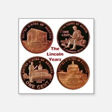 """Lincoln Years Cent Square Sticker 3"""" x 3"""""""