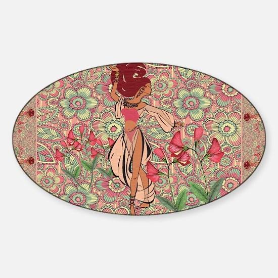 belly dancer area rug Sticker (Oval)