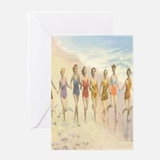 Vintage Beach Beauties Postcard Greeting Card