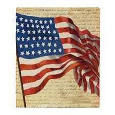 Vintage American Flag Constitution Throw Blanket
