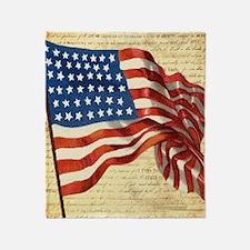 Vintage American Flag Constitution Throw Blanket