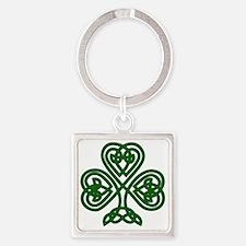 Celtic Clover (dark) Square Keychain