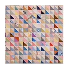 Vintage Triangles Patchwork Quilt Tile Coaster