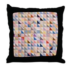 Vintage Triangles Patchwork Quilt Throw Pillow