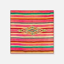 "Vintage Pink Mexican Serape Square Sticker 3"" x 3"""