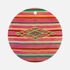 Vintage Pink Mexican Serape Round Ornament