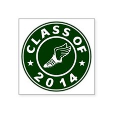 """Class Of 2014 Track and Fie Square Sticker 3"""" x 3"""""""