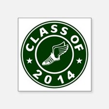 "Class Of 2014 Track and Fie Square Sticker 3"" x 3"""