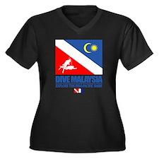 Dive Malaysi Women's Plus Size Dark V-Neck T-Shirt