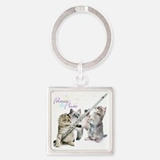 Felines  Flute Square Keychain
