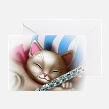Napping Cat and Flute Greeting Card