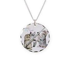 Felines & Flute Necklace Circle Charm