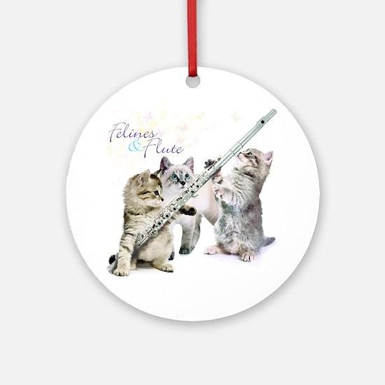 Felines & Flute Round Ornament