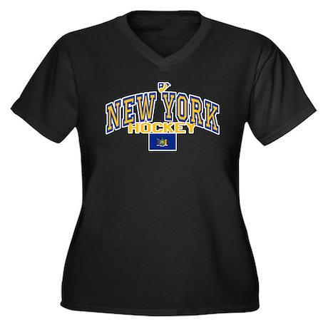 NY Hockey Women's Plus Size V-Neck Dark T-Shirt