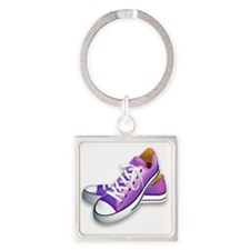 purple sneakers Square Keychain