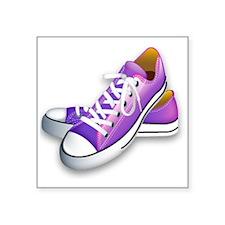 """purple sneakers Square Sticker 3"""" x 3"""""""