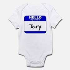 hello my name is tory  Infant Bodysuit