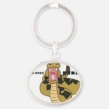 Hungry Snake Oval Keychain