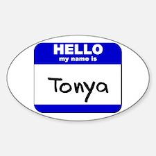 hello my name is tonya Oval Decal