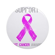 Breast Cancer Support Shirt Round Ornament